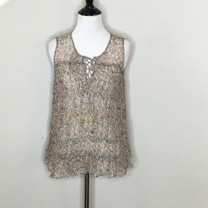 Anthropologie Floreat Calla Lace up Tank  - Size 2